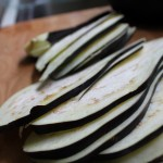 Fresh Eggplant cut into 1/4 inch slices