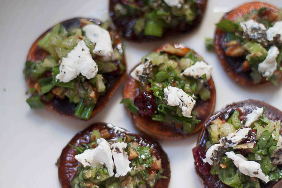 Sweet Potatoes With Pecans And Goat Cheese Recipe — Dishmaps
